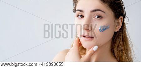 Skincare Banner. Facial Peeling. Acne Treatment. Portrait Of Confident Woman With Natural Makeup Fla