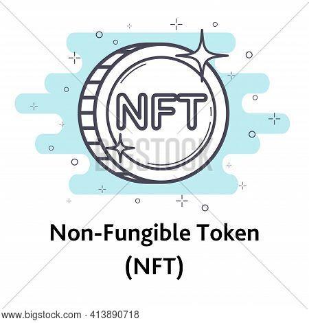 White Litecoin Non Fungible Coin Isolated On White Background