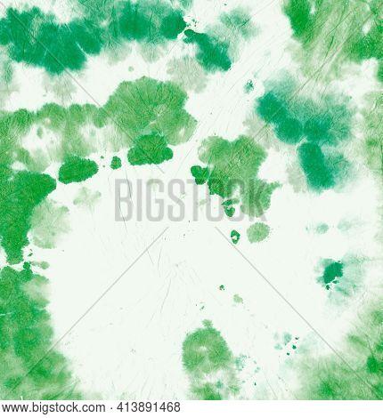 Tie Dye Circular. Color Psychedelic Texture. Hippie Swirl Backdrop. Green Tye Dye Effect. Spiral Art