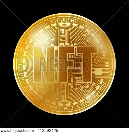 Golden Coin With Nft Symbol Isolated On Black Background