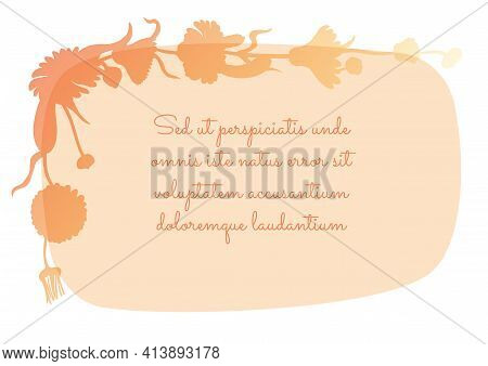 Squarish Banner With Rounded Corners And Garland Created With Marigold Flowers Silhouette. Light Sem