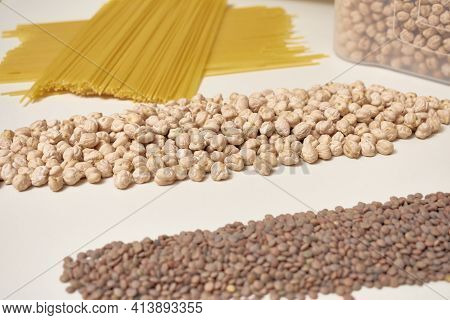 Rice, Lentils, Chickpeas And Pasta. Basic Carbohydrates In A Balanced And Healthy Diet.