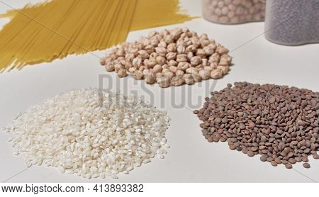 Rice, Lentils, Chickpeas And Pasta. Basic Raw Foods With Carbohydrates For A Healthy And Balanced Di
