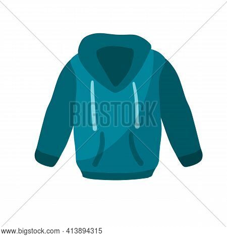 Hoodie With Hood. Blue Warm Clothing. Sweatshirt With Handles.