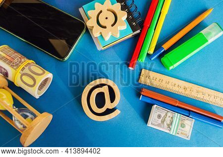 At Commercial Symbol On A Blue Background. Internet And Global Communication Technologies. Shopping