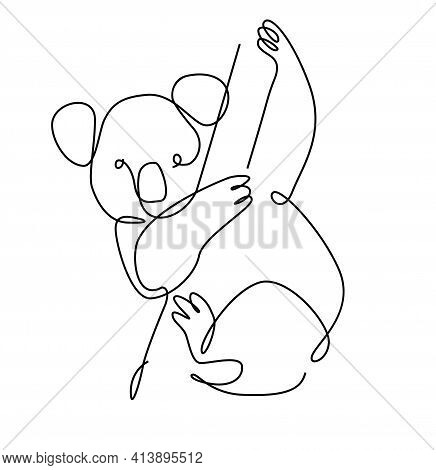 Koala One Line. Australian Koala Bear Outline. Continuous Line