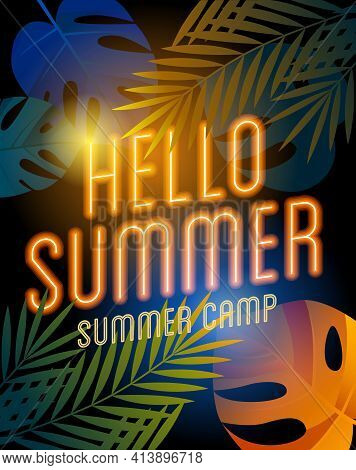 Summer Camp Poster With Neon Lamp Text On The Palm Leaves.