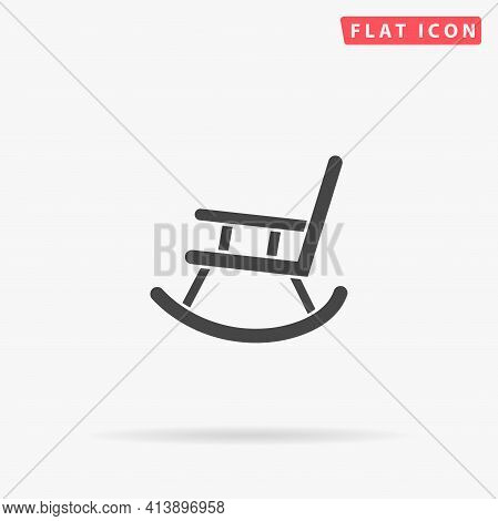 Rocking Chair Flat Vector Icon. Hand Drawn Style Design Illustrations.