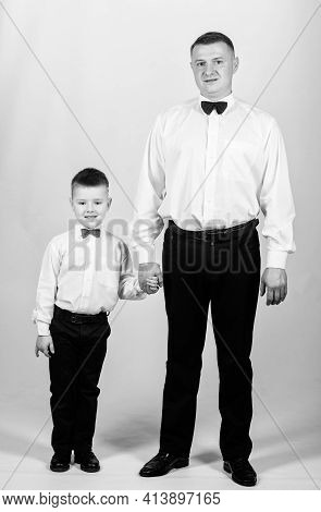 Bow Tie. Male Fashion. Parenting. Fathers Day. Happy Child With Father. Business Meeting Party. Smal