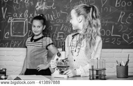 Formal Education School. Educational Experiment. Back To School. School Classes. Girls Study Chemist