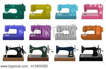 Sewing Machine Vector Illustration On White Background. Isolated Cartoon Set Icon Tool For Sew. Vect