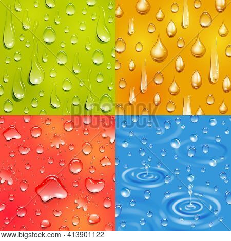 Water Following And Falling Drop Round And Elongate Shape Color Square Banner Set Isolated Vector Il