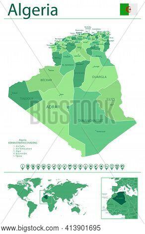 Algeria Detailed Map And Flag. Algeria On World Map.