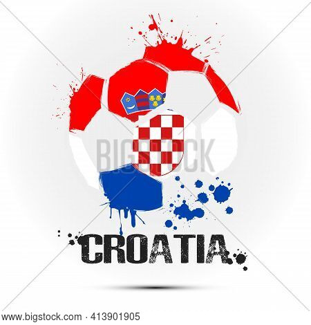Soccer Ball With Croatia National Flag Colors