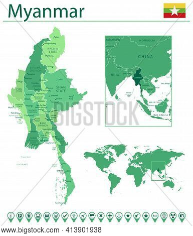 Myanmar Detailed Map And Flag. Myanmar On World Map.