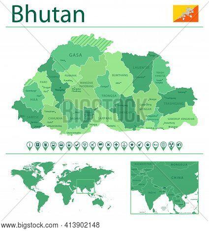 Bhutan Detailed Map And Flag. Bhutan On World Map.