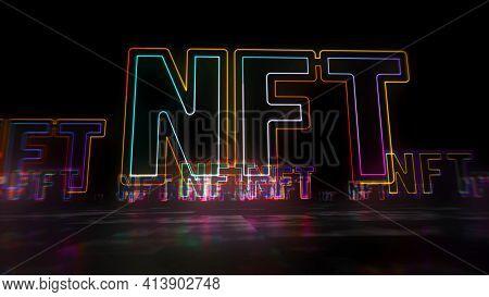 Nft Symbol Abstract Concept 3D Illustration