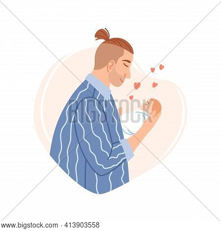 Father And His Newborn Sleeping Son Baby Boy On Heart Shaped Background. Happy Fathers Day Design El