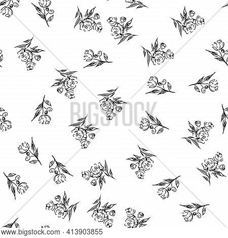 Doodle Simple Vector Seamless Pattern Of Hand-drawn Peonies. Seamless Random Pattern Of Hand-drawn P