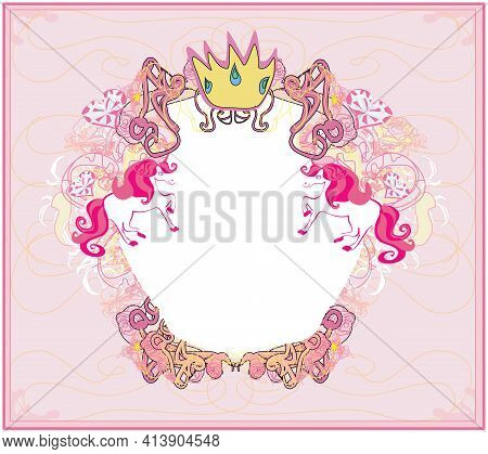 Decorative Girlish Frame With Unicorns , Vector Illustration