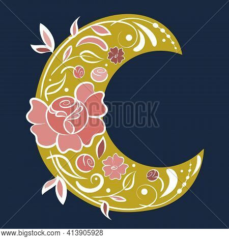 Neo Folklore Floral Art, Vector, Hand Drawn Design. Fairy Flowers, Flourish Motif, Crescent Moon, Fl