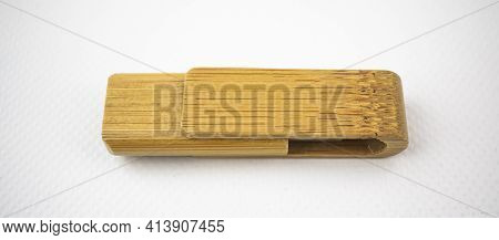 Wooden Memory Unit With Usb Connection For Data Storage, On White Background