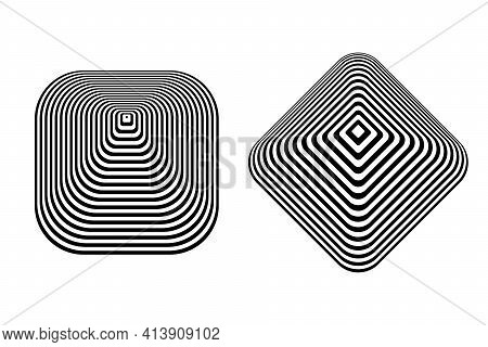 Abstract Geometric Design Elements In Pyramid Shape. Vector Art.