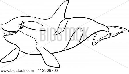 Black And White Cartoon Illustration Of Orca Or Killer Whale Sea Animal Character Coloring Book Page