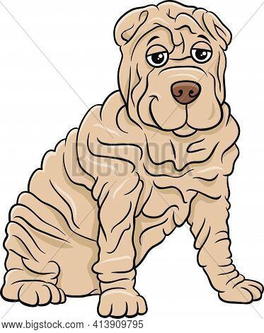 Cartoon Illustration Of Shar Pei Purebred Dog Animal Character