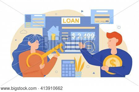 Mortgage Concept. House Loan Or Money Investment To Real Estate. Property Contract. Man Calculates M