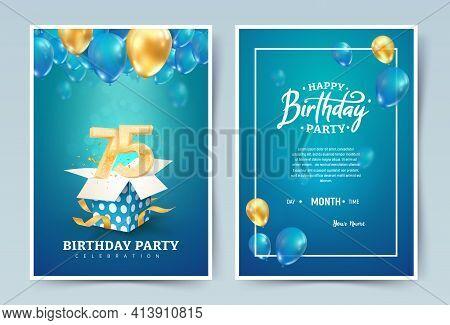 75th Years Birthday Vector Invitation Double Card. Seventy Five Years Wedding Anniversary Celebratio