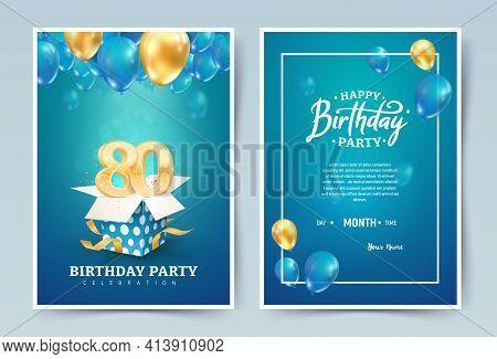 80th Years Birthday Vector Invitation Double Card. Eighty Years Wedding Anniversary Celebration Broc