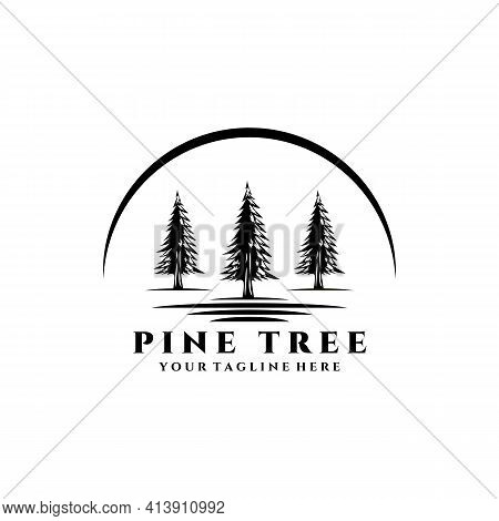 Pine Tree Logo Vector Illustration Design, River Vintage Trees