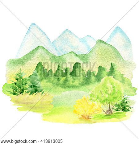 Watercolor Spring Landscape, Mountains, Hills, Trees And Yellow Forsythia Bush, Green Nature Forest