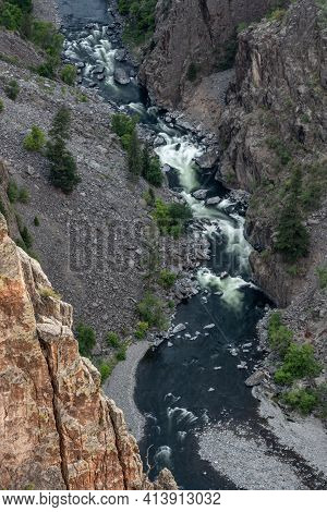Looking Down Over Rapids In The Gunnison River Through Black Canyon In Colorado
