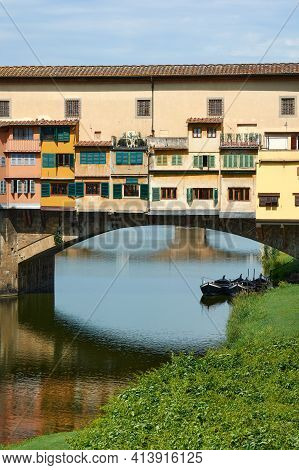 Details Of Ponte Vecchio On A Beautiful Sunny Spring Day In Florence, Italy. Popular Medieval Bridge