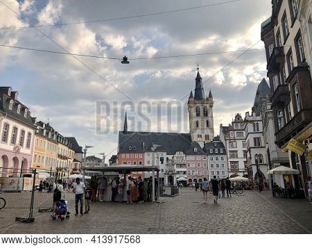 Trier, Germany - August 26, 2019: Classic German Architecture In Trier Old Town