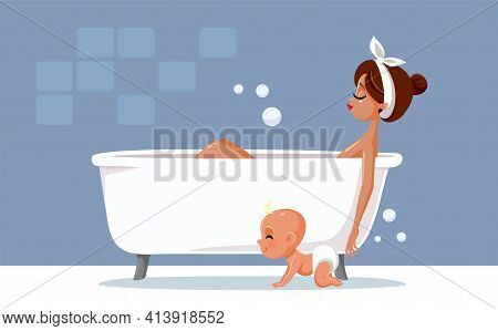 Mother Relaxing Taking A Bath Vector Illustration