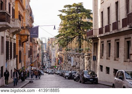 Rome. Italy. Spring 2020. Rome. Italy. Spring 2020. Via Delle Quattro Fontane. A Lot Of People Are W