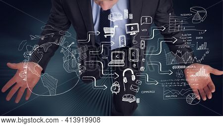Composition of network of digital icons with globe over businessman. global technology and digital interface concept digitally generated image.