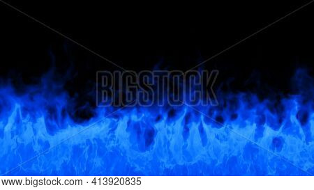 Fire Flames On Black Background. Burning Fire Flame. Beautiful Abstract Background On The Theme Fire