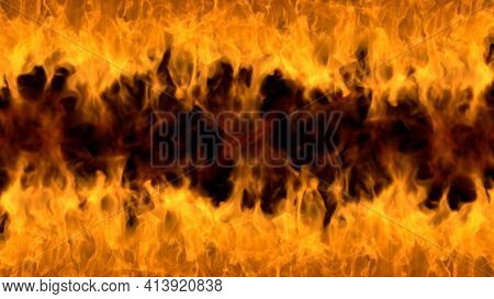 Fire Flames On Black Background. Burning Fire Flame. Beautiful Abstract Background On The Theme Of F