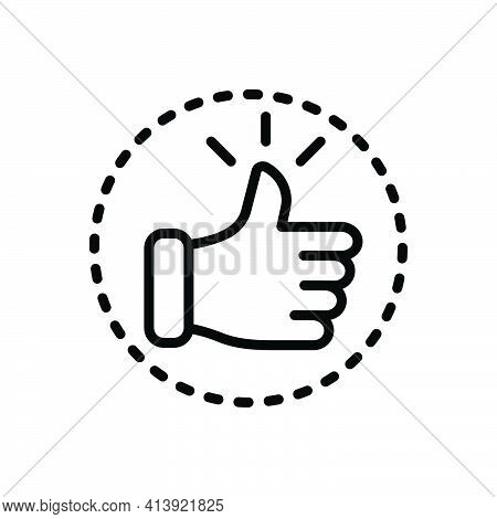 Black Line Icon For Confident Persuaded Self-assured Assured Approve
