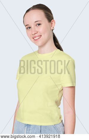 Girl in yellow t-shirt youth apparel shoot