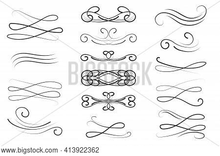 Black Vintage Forged Patterns. Modern Floral Pattern. Lattice Graphic Design. Vector Set. Stock Imag