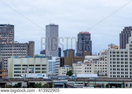New Orleans, La - March 19: Skyline Of The Central Business District And Eastbound Traffic On Inters