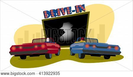 Drive-in Cinema. Drive-in Theater. Open Space Auto Theater With Movie Going On, Cars Parked Nearby,