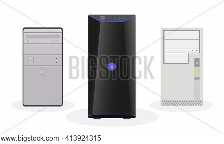 A Set Of Computer System Blocks, Modern, Outdated, And The Usual Home Look. Flat Vector Illustration