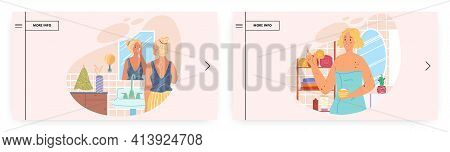 Special Appearance, Skin Problem People. Landing Page Design, Website Banner Vector Template Set.