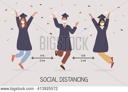 Graduated Students Jumping And Wearing Face Mask, Academic Gown Or Robe, Cap, Holding Diploma. Banne